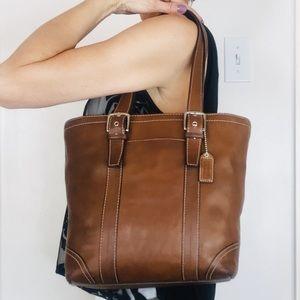 Coach Hamptons Brown Leather Carryall Bag